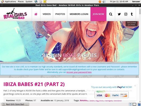 Real Girls Gone Bad Website Password